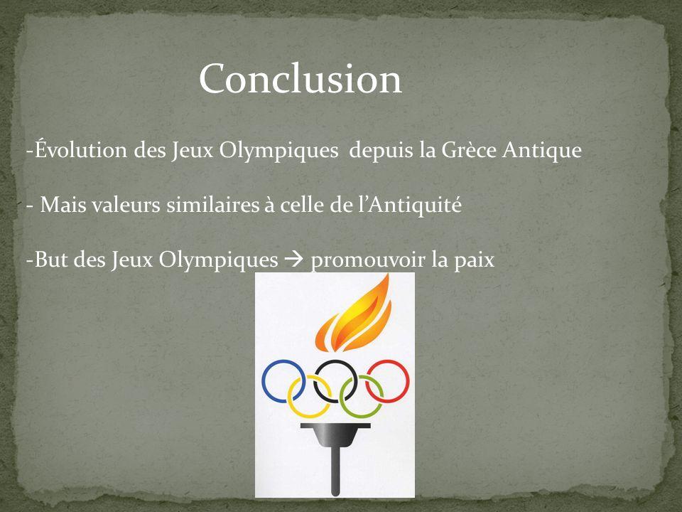 Conclusion -Évolution des Jeux Olympiques depuis la Grèce Antique - Mais valeurs similaires à celle de lAntiquité -But des Jeux Olympiques promouvoir