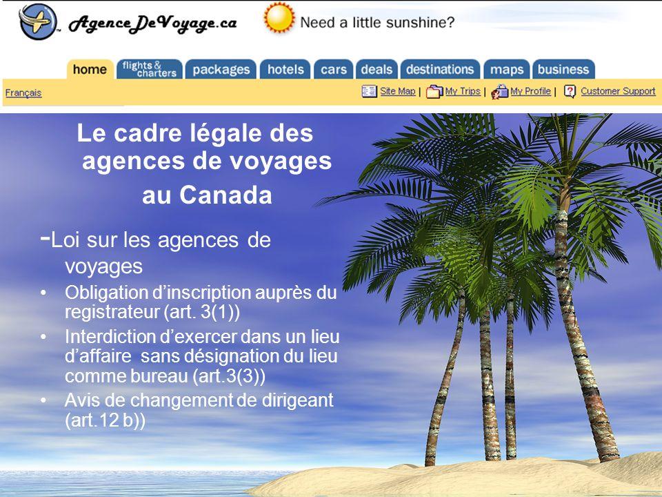 Le cadre légale des agences de voyages au Canada - Loi sur les agences de voyages Obligation dinscription auprès du registrateur (art.
