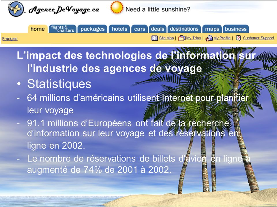 Limpact des technologies de linformation sur lindustrie des agences de voyage Statistiques -64 millions daméricains utilisent Internet pour planifier leur voyage -91.1 millions dEuropéens ont fait de la recherche dinformation sur leur voyage et des réservations en ligne en 2002.