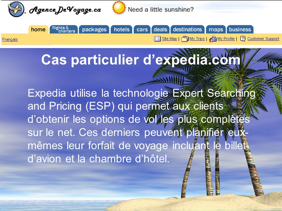 Cas particulier dexpedia.com Expedia utilise la technologie Expert Searching and Pricing (ESP) qui permet aux clients dobtenir les options de vol les plus complètes sur le net.