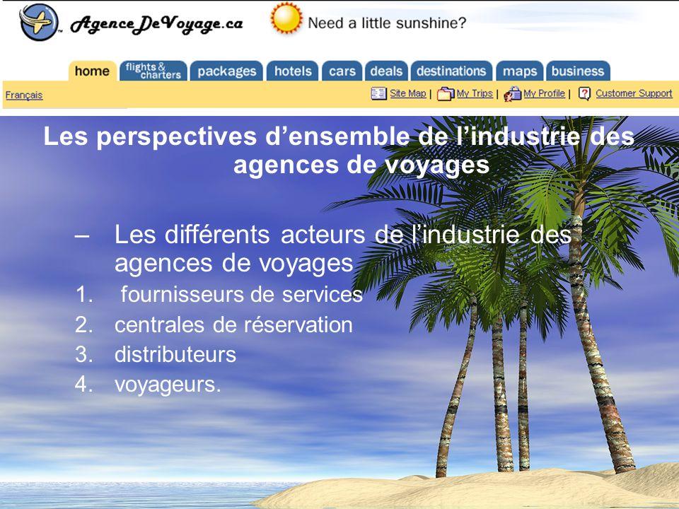 Les perspectives densemble de lindustrie des agences de voyages –Les différents acteurs de lindustrie des agences de voyages 1. fournisseurs de servic