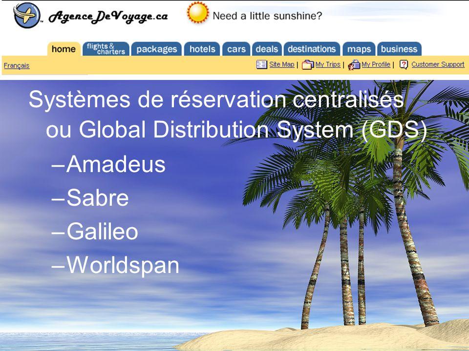 Systèmes de réservation centralisés ou Global Distribution System (GDS) –Amadeus –Sabre –Galileo –Worldspan