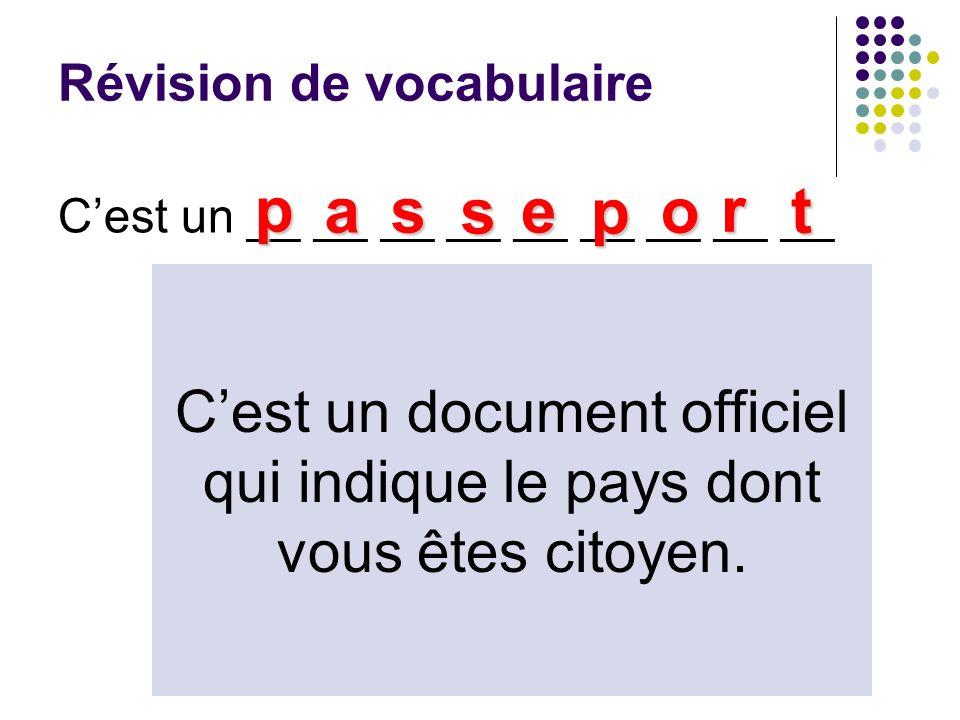 Révision de vocabulaire Cest un __ __ __ __ __ __ __ __ __ p as s e p o r t Cest un document officiel qui indique le pays dont vous êtes citoyen.