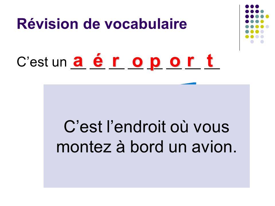 Révision de vocabulaire Cest un __ __ __ __ __ __ __ __ a ér op o r t Cest lendroit où vous montez à bord un avion.