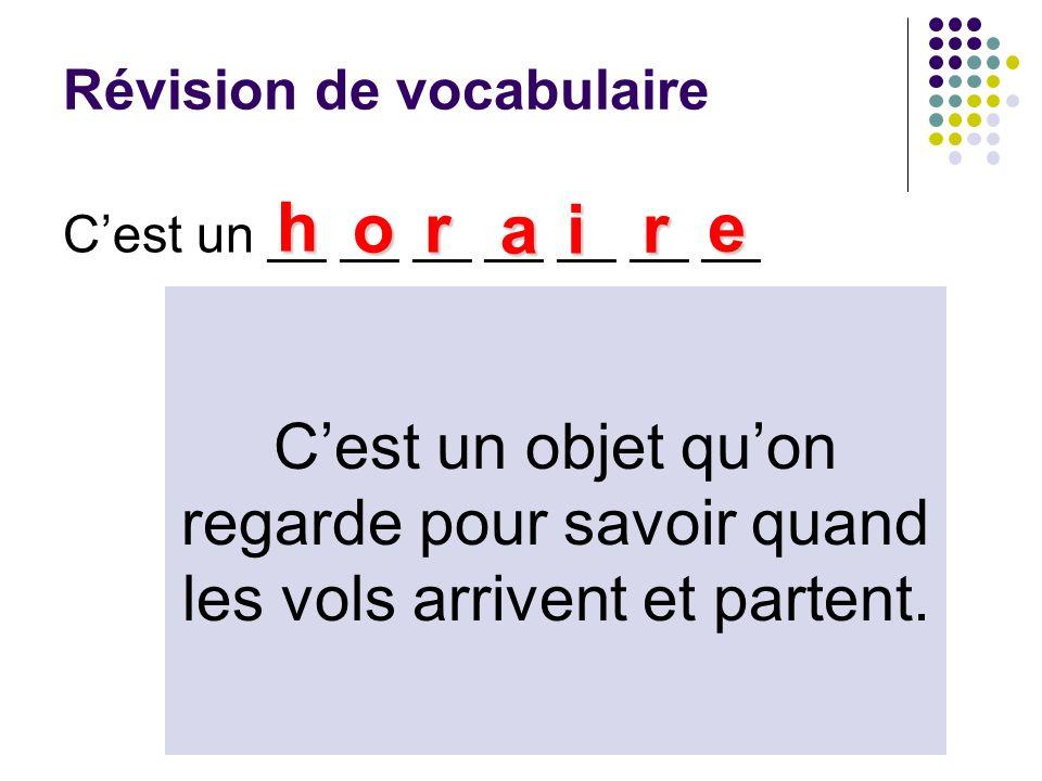 Révision de vocabulaire Cest un __ __ __ __ __ __ __ h or ai r e Cest un objet quon regarde pour savoir quand les vols arrivent et partent.