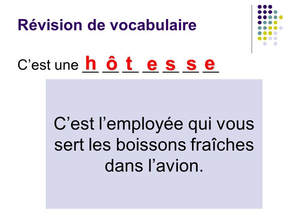 Révision de vocabulaire Cest une __ __ __ __ __ __ __ h ôt es s e Cest lemployée qui vous sert les boissons fraîches dans lavion.