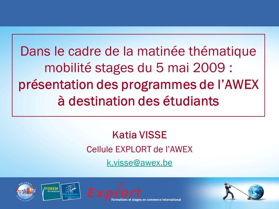 Dans le cadre de la matinée thématique mobilité stages du 5 mai 2009 : présentation des programmes de lAWEX à destination des étudiants Katia VISSE Cellule EXPLORT de lAWEX k.visse@awex.be