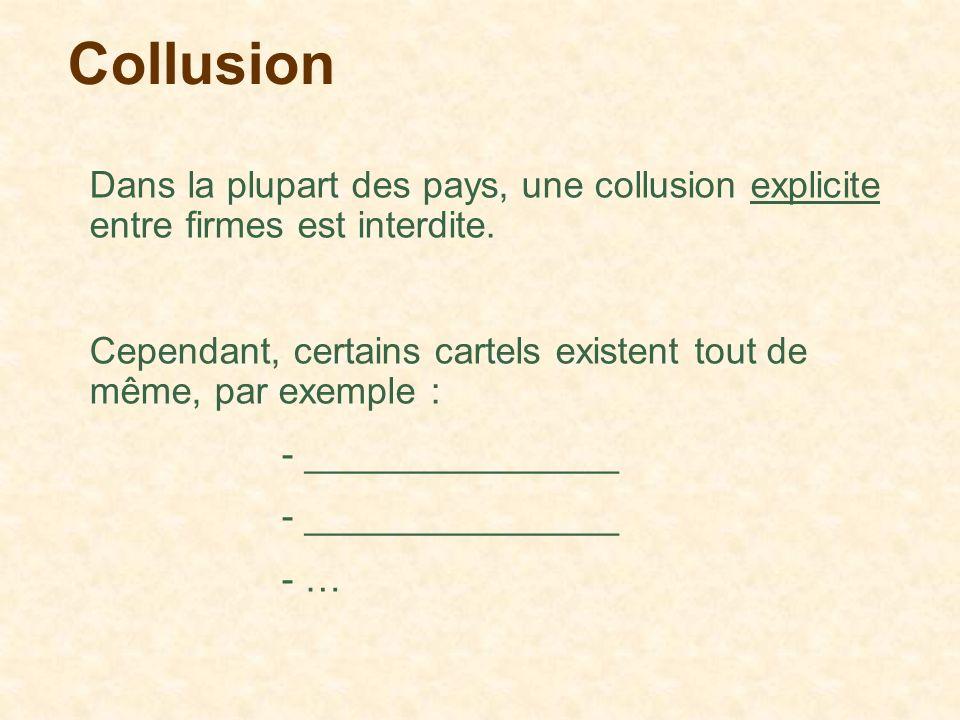 Collusion Dans la plupart des pays, une collusion explicite entre firmes est interdite. Cependant, certains cartels existent tout de même, par exemple
