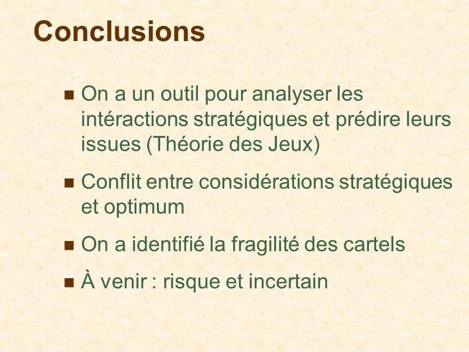Conclusions On a un outil pour analyser les intéractions stratégiques et prédire leurs issues (Théorie des Jeux) Conflit entre considérations stratégi