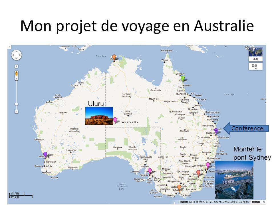 Mon projet de voyage en Australie Conférence Uluru Monter le pont Sydney