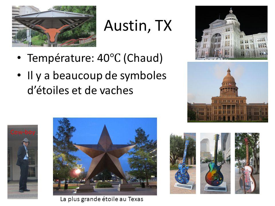 Austin, TX Température: 40 (Chaud) Il y a beaucoup de symboles détoiles et de vaches La plus grande étoile au Texas Cow-boy