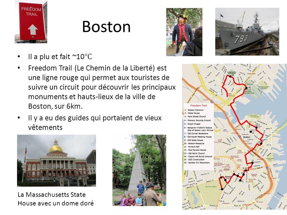 Boston Il a plu et fait ~10 Freedom Trail (Le Chemin de la Liberté) est une ligne rouge qui permet aux touristes de suivre un circuit pour découvrir les principaux monuments et hauts-lieux de la ville de Boston, sur 6km.