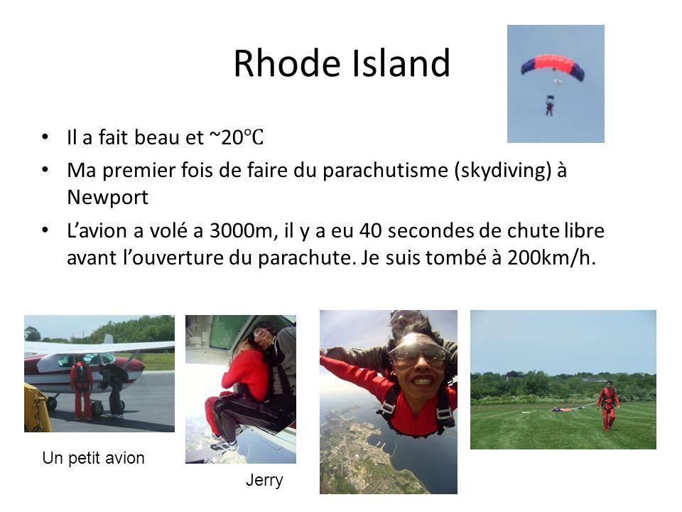 Rhode Island Il a fait beau et ~20 Ma premier fois de faire du parachutisme (skydiving) à Newport Lavion a volé a 3000m, il y a eu 40 secondes de chute libre avant louverture du parachute.