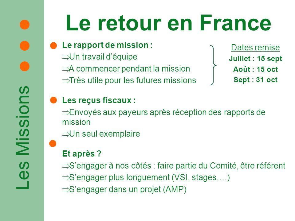 Les Missions Le retour en France Le rapport de mission : Un travail déquipe A commencer pendant la mission Très utile pour les futures missions Les re