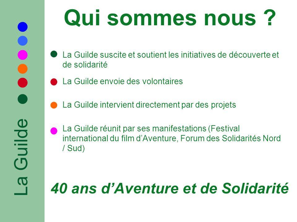 Qui sommes nous ? La Guilde La Guilde suscite et soutient les initiatives de découverte et de solidarité La Guilde envoie des volontaires La Guilde in