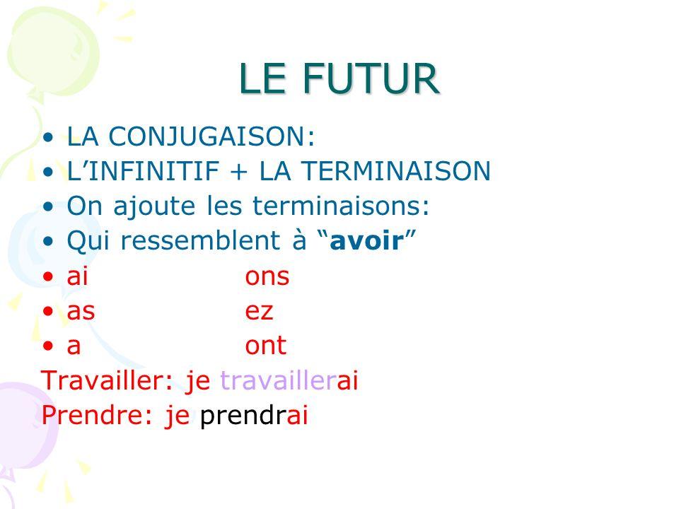 LE FUTUR LA CONJUGAISON: LINFINITIF + LA TERMINAISON On ajoute les terminaisons: Qui ressemblent à avoir aions asez aont Travailler: je travaillerai P