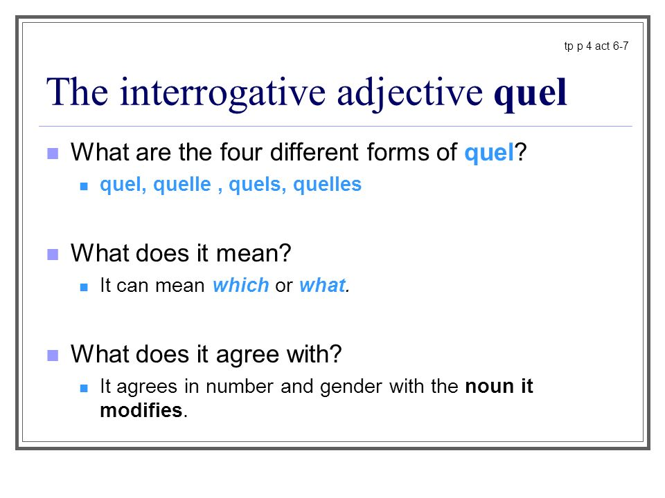 The interrogative adjective quel What are the four different forms of quel? quel, quelle, quels, quelles What does it mean? It can mean which or what.