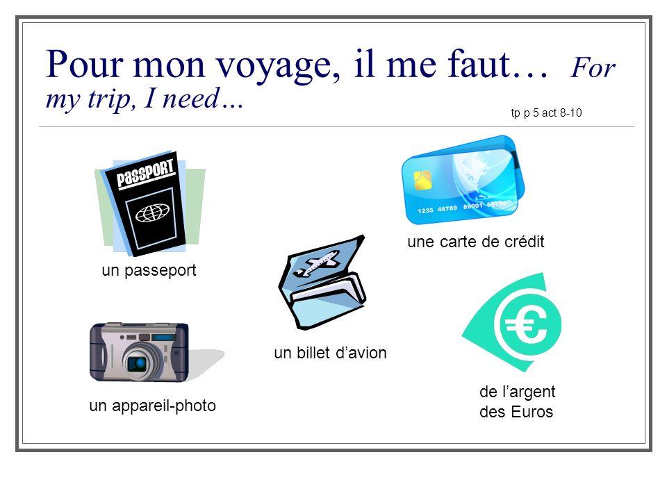 Pour mon voyage, il me faut… For my trip, I need… un passeport un billet davion une carte de crédit de largent des Euros tp p 5 act 8-10 un appareil-p