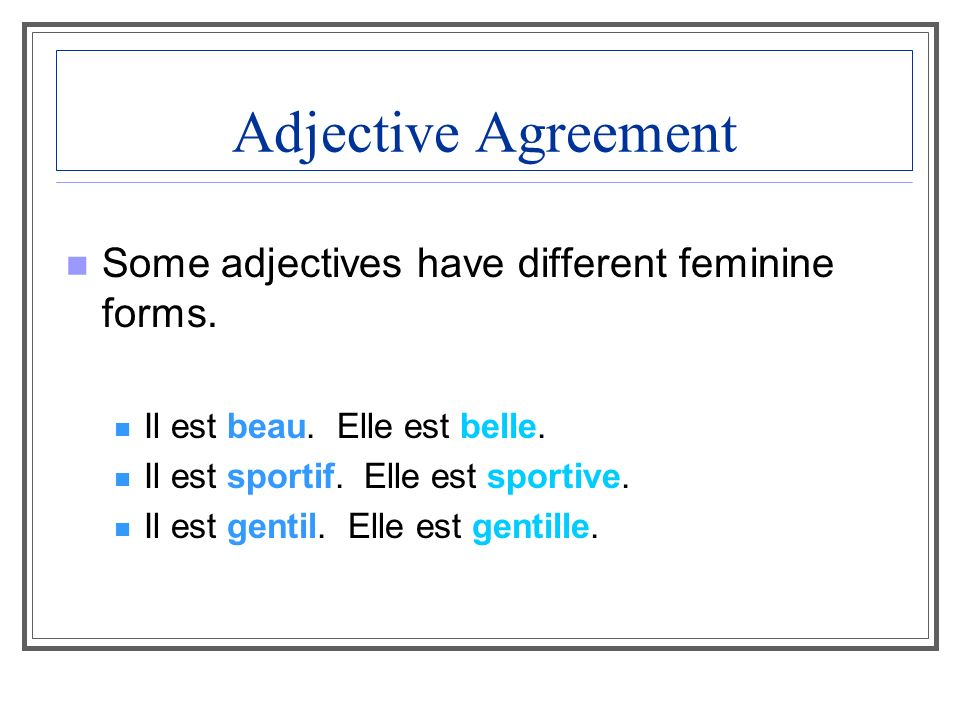Adjective agreement The singular forms of sympa are the same; an -s is added to make sympa plural.