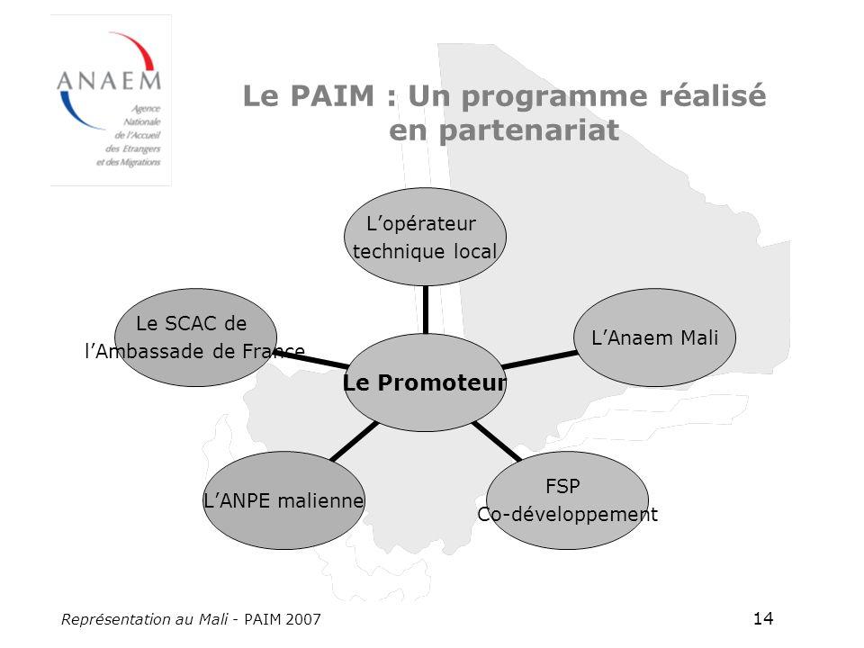 Représentation au Mali - PAIM 2007 14 Le PAIM : Un programme réalisé en partenariat Le Promoteur Lopérateur technique local LAnaem Mali FSP Co- développement LANPE malienne Le SCAC de lAmbassade de France