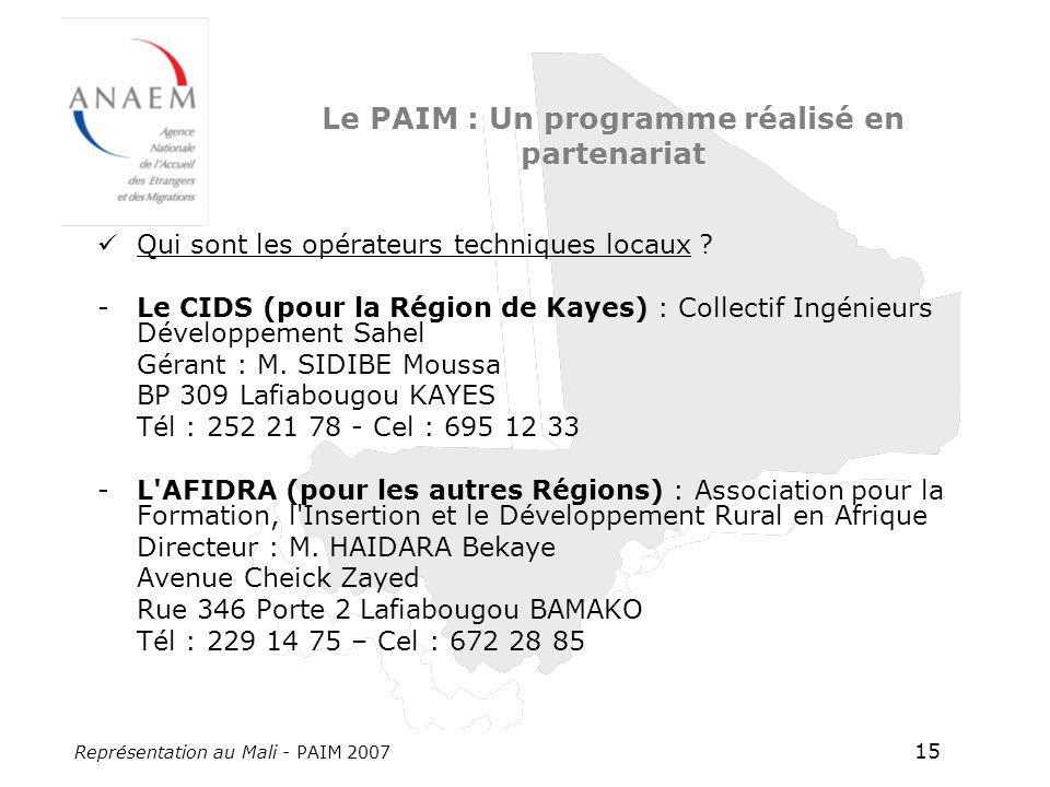 Représentation au Mali - PAIM 2007 15 Le PAIM : Un programme réalisé en partenariat Qui sont les opérateurs techniques locaux ? -Le CIDS (pour la Régi
