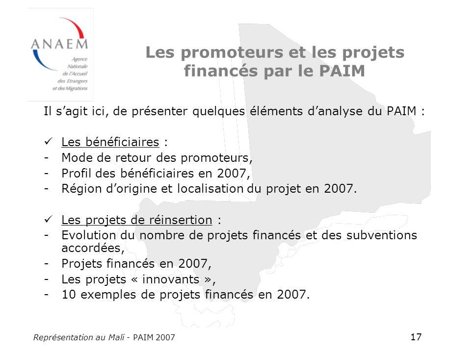 Représentation au Mali - PAIM 2007 17 Les promoteurs et les projets financés par le PAIM Il sagit ici, de présenter quelques éléments danalyse du PAIM : Les bénéficiaires : -Mode de retour des promoteurs, -Profil des bénéficiaires en 2007, -Région dorigine et localisation du projet en 2007.