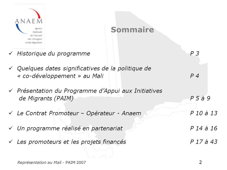 Représentation au Mali - PAIM 2007 2 Sommaire Historique du programme P 3 Quelques dates significatives de la politique de « co-développement » au Mali P 4 Présentation du Programme dAppui aux Initiatives de Migrants(PAIM) P 5 à 9 Le Contrat Promoteur – Opérateur - Anaem P 10 à 13 Un programme réalisé en partenariat P 14 à 16 Les promoteurs et les projets financés P 17 à 43