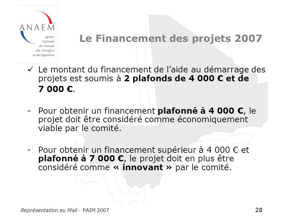 Représentation au Mali - PAIM 2007 28 Le Financement des projets 2007 Le montant du financement de laide au démarrage des projets est soumis à 2 plafonds de 4 000 et de 7 000.