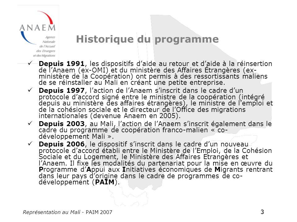 Représentation au Mali - PAIM 2007 3 Historique du programme Depuis 1991, les dispositifs daide au retour et daide à la réinsertion de lAnaem (ex-OMI) et du ministère des Affaires Étrangères (ex- ministère de la Coopération) ont permis à des ressortissants maliens de se réinstaller au Mali en créant une petite entreprise.