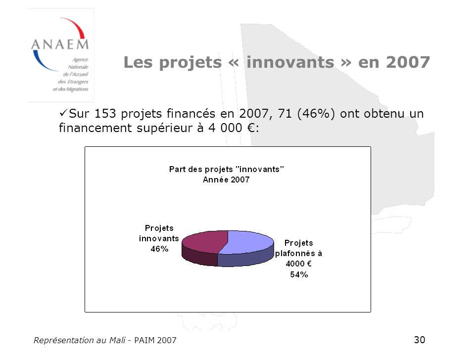Représentation au Mali - PAIM 2007 30 Les projets « innovants » en 2007 Sur 153 projets financés en 2007, 71 (46%) ont obtenu un financement supérieur à 4 000 :