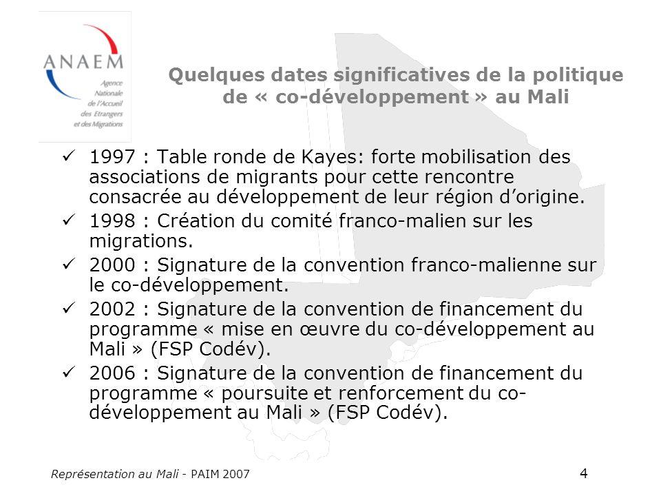 Représentation au Mali - PAIM 2007 4 Quelques dates significatives de la politique de « co-développement » au Mali 1997 : Table ronde de Kayes: forte mobilisation des associations de migrants pour cette rencontre consacrée au développement de leur région dorigine.