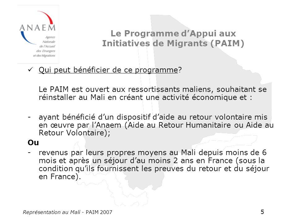 Représentation au Mali - PAIM 2007 5 Le Programme dAppui aux Initiatives de Migrants (PAIM) Qui peut bénéficier de ce programme? Le PAIM est ouvert au