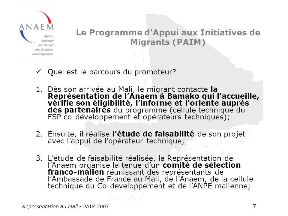 Représentation au Mali - PAIM 2007 7 Le Programme dAppui aux Initiatives de Migrants (PAIM) Quel est le parcours du promoteur? 1.Dès son arrivée au Ma