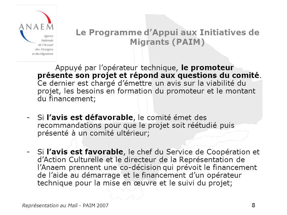 Représentation au Mali - PAIM 2007 8 Le Programme dAppui aux Initiatives de Migrants (PAIM) Appuyé par lopérateur technique, le promoteur présente son projet et répond aux questions du comité.
