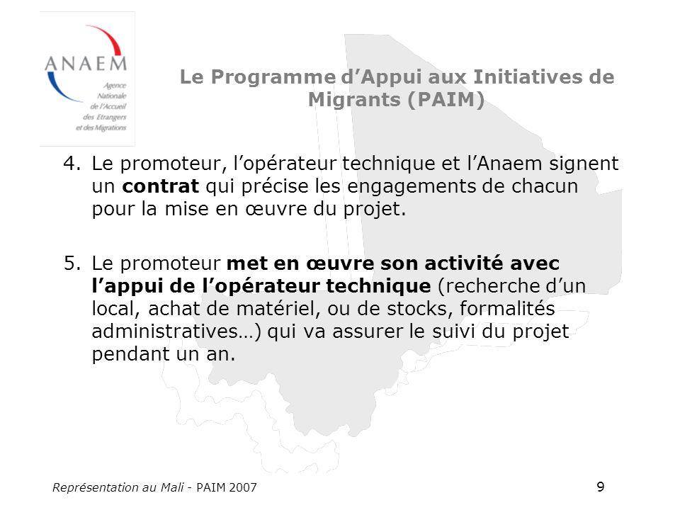 Représentation au Mali - PAIM 2007 9 Le Programme dAppui aux Initiatives de Migrants (PAIM) 4.Le promoteur, lopérateur technique et lAnaem signent un contrat qui précise les engagements de chacun pour la mise en œuvre du projet.