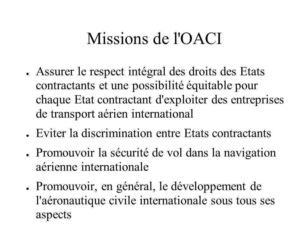Missions de l'OACI Assurer le respect intégral des droits des Etats contractants et une possibilité équitable pour chaque Etat contractant d'exploiter