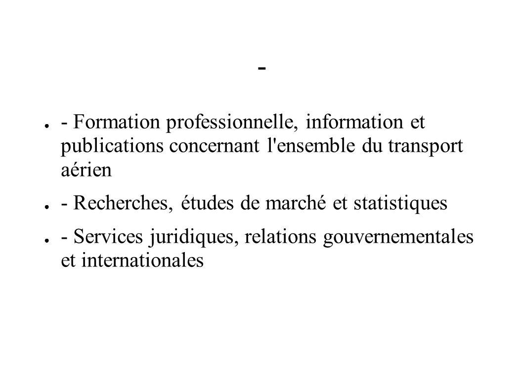 - - Formation professionnelle, information et publications concernant l'ensemble du transport aérien - Recherches, études de marché et statistiques -