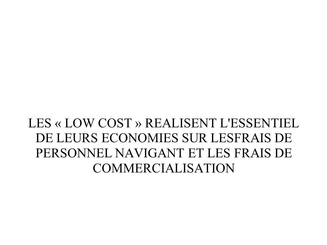 LES « LOW COST » REALISENT L'ESSENTIEL DE LEURS ECONOMIES SUR LESFRAIS DE PERSONNEL NAVIGANT ET LES FRAIS DE COMMERCIALISATION