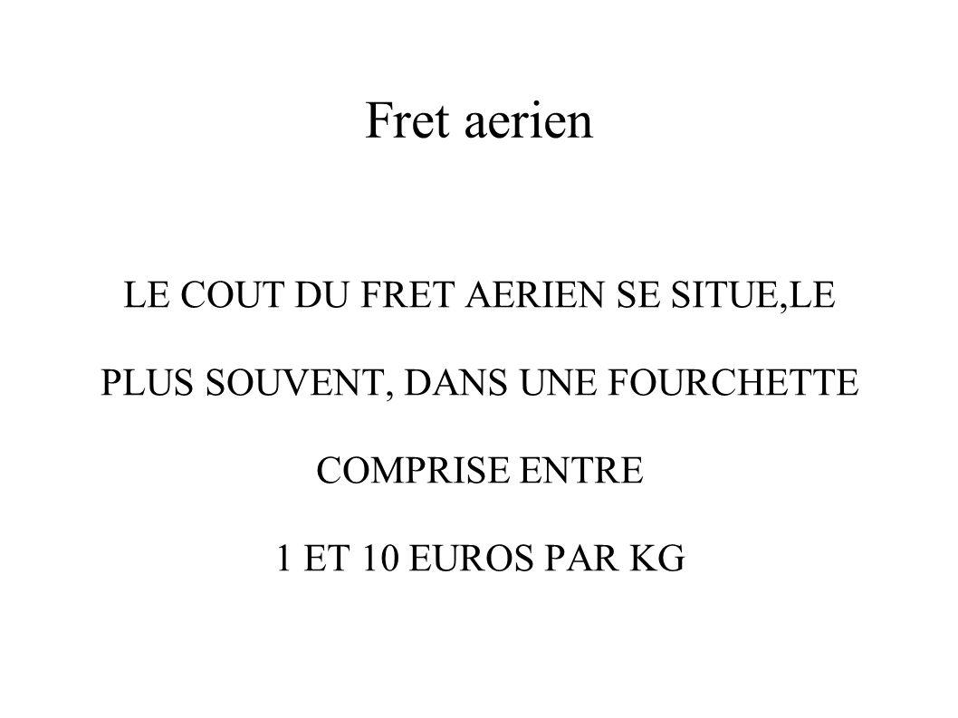 Fret aerien LE COUT DU FRET AERIEN SE SITUE,LE PLUS SOUVENT, DANS UNE FOURCHETTE COMPRISE ENTRE 1 ET 10 EUROS PAR KG