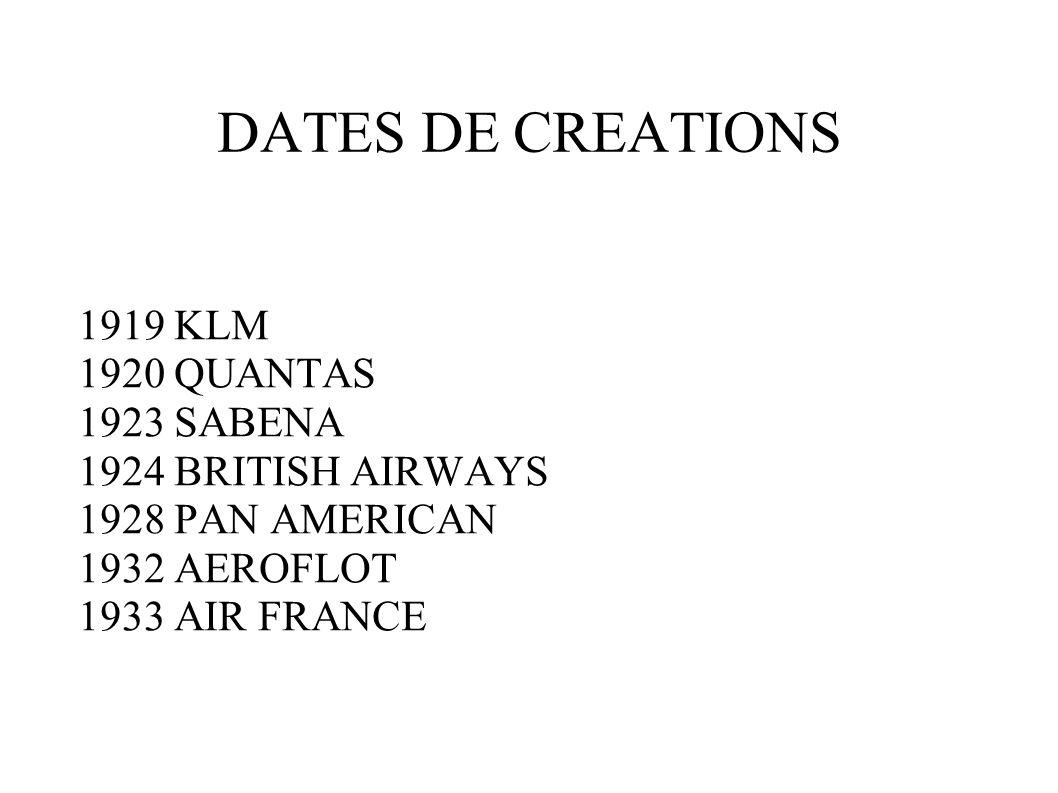 DATES DE CREATIONS 1919 KLM 1920 QUANTAS 1923 SABENA 1924 BRITISH AIRWAYS 1928 PAN AMERICAN 1932 AEROFLOT 1933 AIR FRANCE