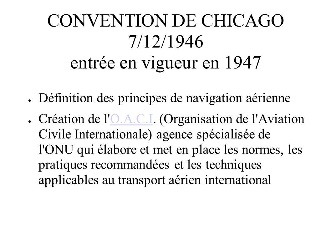 CONVENTION DE CHICAGO 7/12/1946 entrée en vigueur en 1947 Définition des principes de navigation aérienne Création de l'O.A.C.I. (Organisation de l'Av