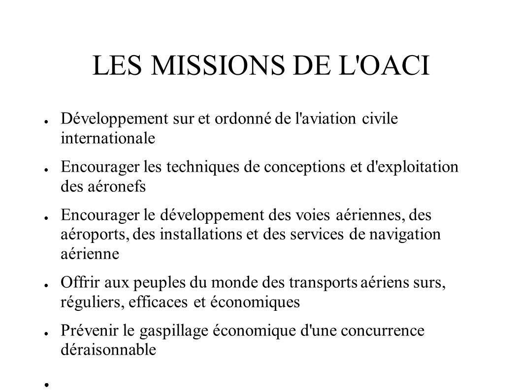 LES MISSIONS DE L'OACI Développement sur et ordonné de l'aviation civile internationale Encourager les techniques de conceptions et d'exploitation des