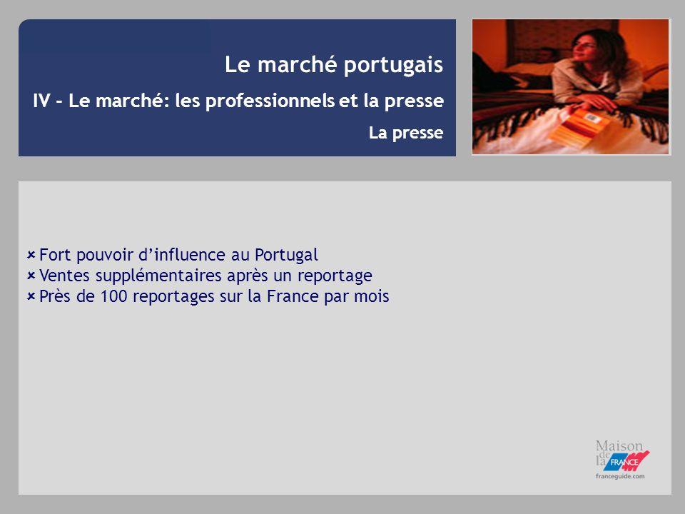 Le marché portugais IV - Le marché: les professionnels et la presse La presse Fort pouvoir dinfluence au Portugal Ventes supplémentaires après un repo