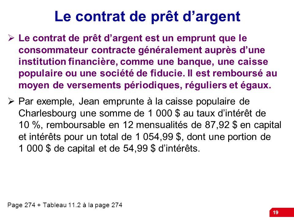 19 Le contrat de prêt dargent Le contrat de prêt dargent est un emprunt que le consommateur contracte généralement auprès dune institution financière,