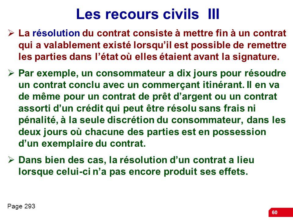 60 Les recours civils III La résolution du contrat consiste à mettre fin à un contrat qui a valablement existé lorsquil est possible de remettre les p