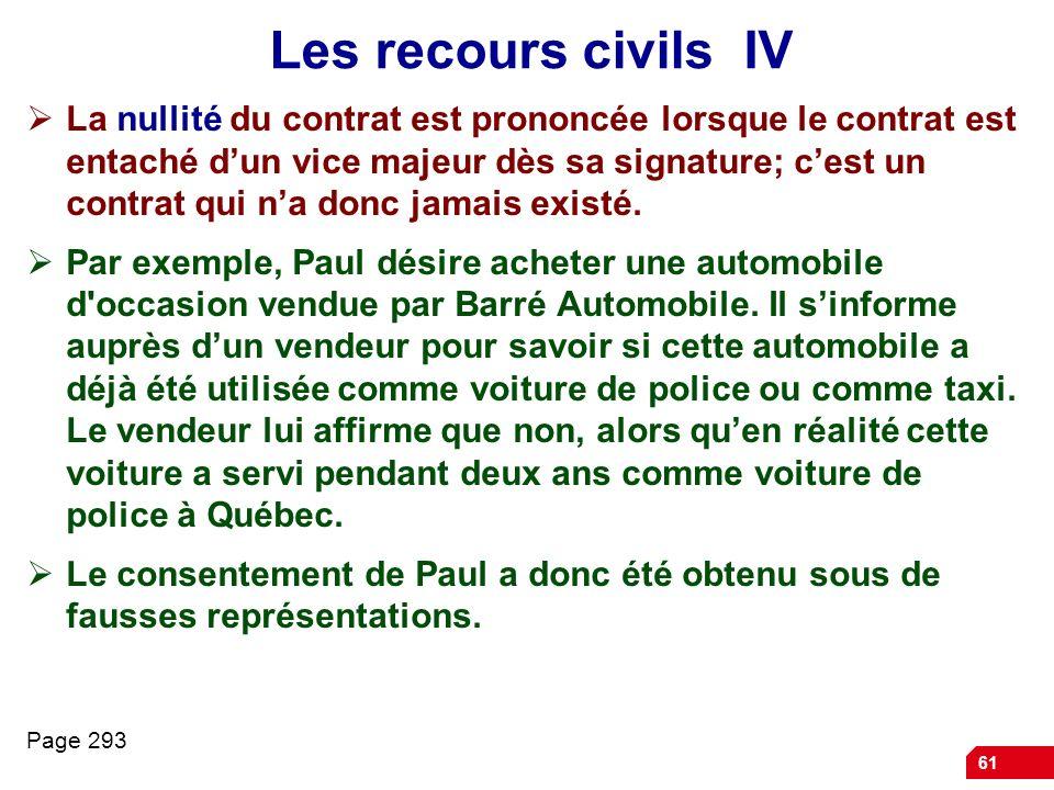 61 Les recours civils IV La nullité du contrat est prononcée lorsque le contrat est entaché dun vice majeur dès sa signature; cest un contrat qui na d