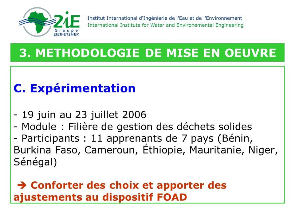 C. Expérimentation - 19 juin au 23 juillet 2006 - Module : Filière de gestion des déchets solides - Participants : 11 apprenants de 7 pays (Bénin, Bur