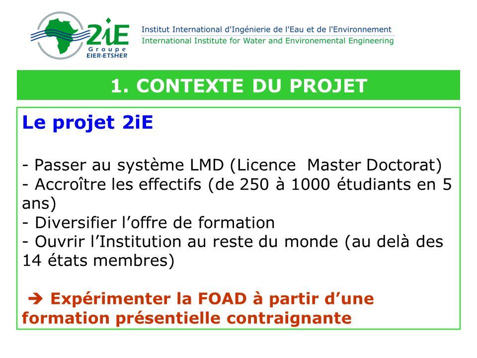 Le projet 2iE - Passer au système LMD (Licence Master Doctorat) - Accroître les effectifs (de 250 à 1000 étudiants en 5 ans) - Diversifier loffre de f