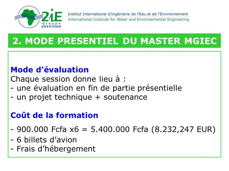 Mode dévaluation Chaque session donne lieu à : - une évaluation en fin de partie présentielle - un projet technique + soutenance Coût de la formation