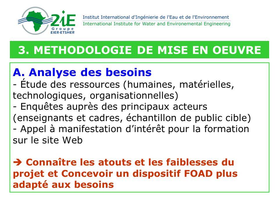 A. Analyse des besoins - Étude des ressources (humaines, matérielles, technologiques, organisationnelles) - Enquêtes auprès des principaux acteurs (en